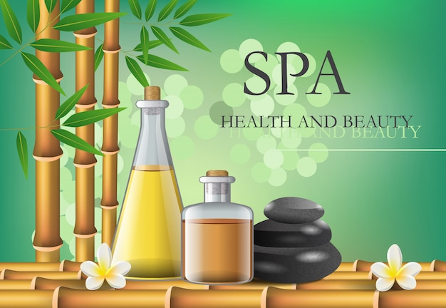 Spa, health and beauty lettering with accessories composition. Free Vector