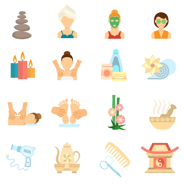 Spa icons flat Free Vector