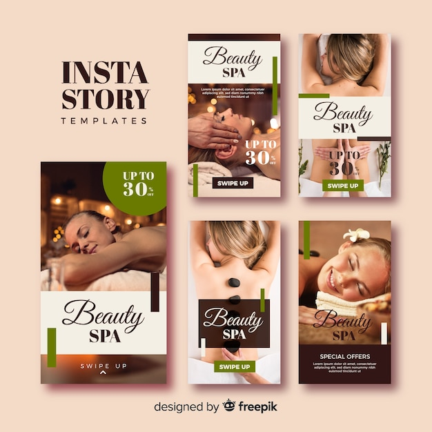 Spa instagram stories template collection Free Vector