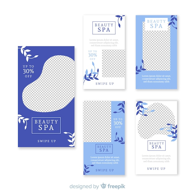 Spa instagram stories template set Free Vector