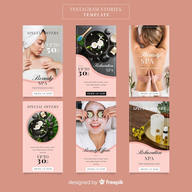 Spa instagram stories template Premium Vector