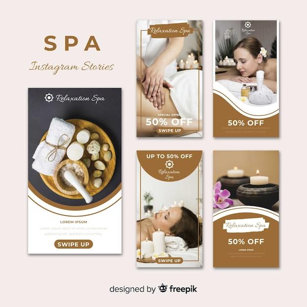 Spa instagram stories template Free Vector