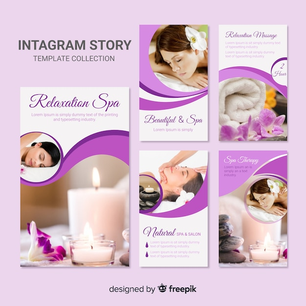 Spa instagram stories template Free Vector