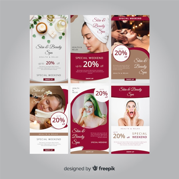 Spa instagram story template collection Free Vector