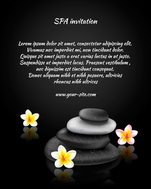 Spa invitation card with stones and exotic tropical flower Free Vector