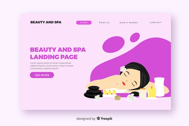 Spa landing page template with a woman Free Vector