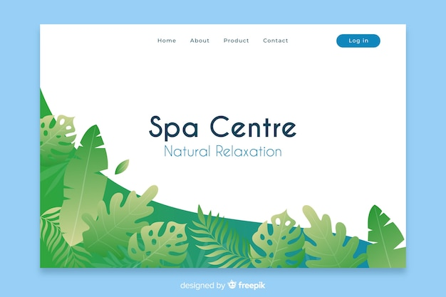 Spa landing page with natural elements Free Vector