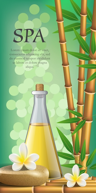Spa lettering, flowers, bamboo, stone and bottle. spa salon advertising poster Free Vector