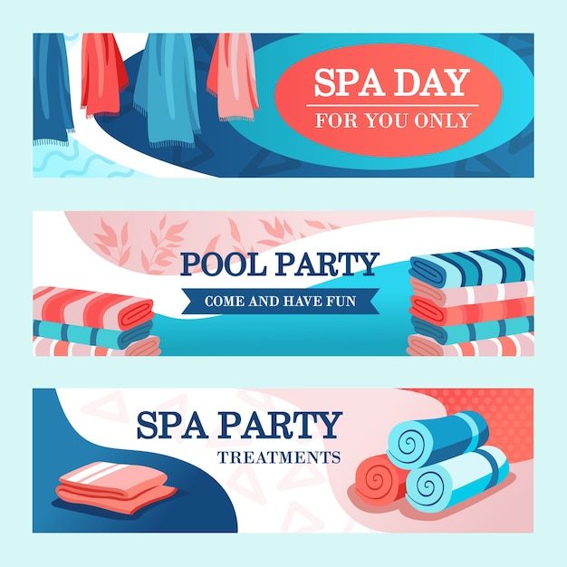 Spa party banners design with towels. bright modern leaflet with rolled and stacked towels. spa and relaxation concept. template for poster, promotion or web design Free Vector