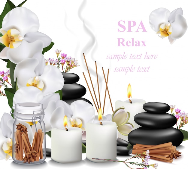 Spa relax card candles, orchid, aromas and stones vector illustrations Premium Vector