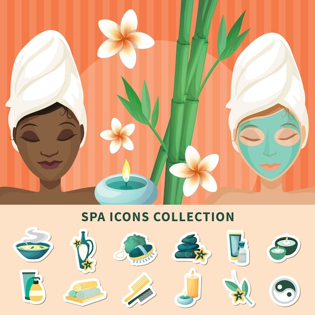 Spa resort flat icons collection Free Vector