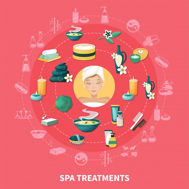 Spa resort flat icons composition Free Vector
