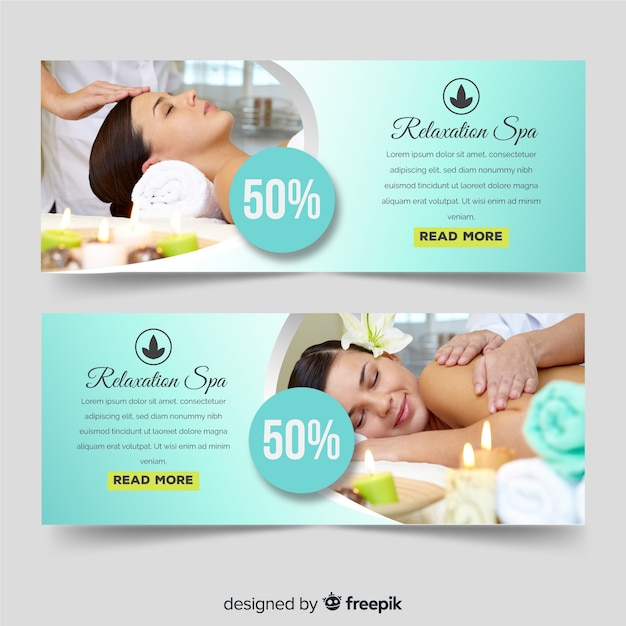 Spa sale banners Free Vector