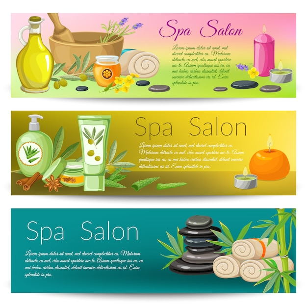 Spa salon banners collection Free Vector