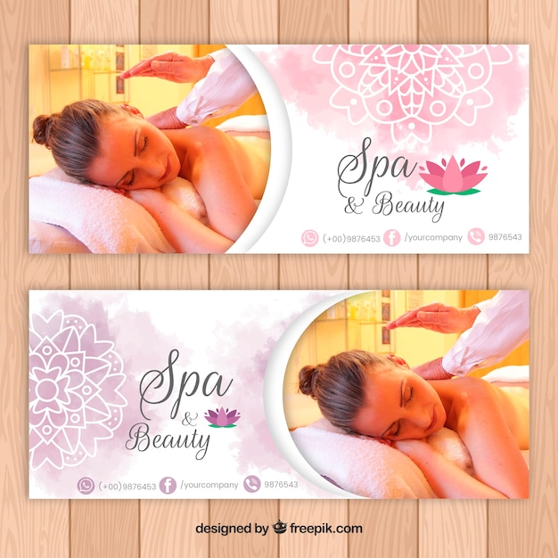 Spa salon banners with a photo Free Vector