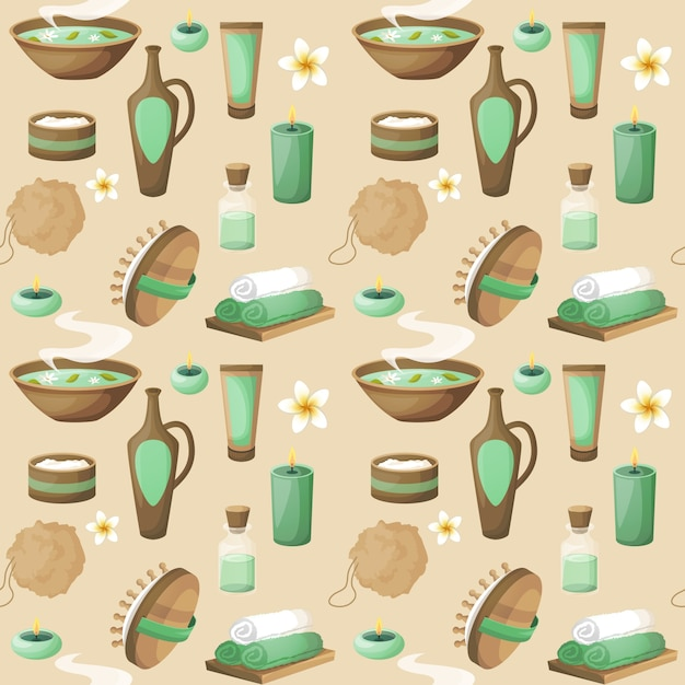 Spa salon herbal therapy relax beauty care\ products seamless pattern vector illustration