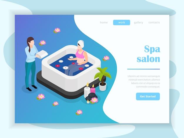 Spa salon isometric landing page Free Vector