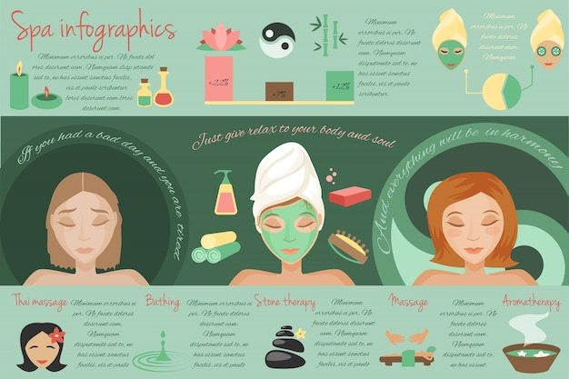 Spa salon thai massage bathing stone therapy\ isolated vector illustration