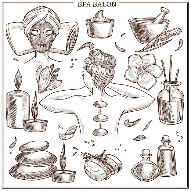 Spa salon treatments sketch for woman skincare or beauty center design Premium Vector