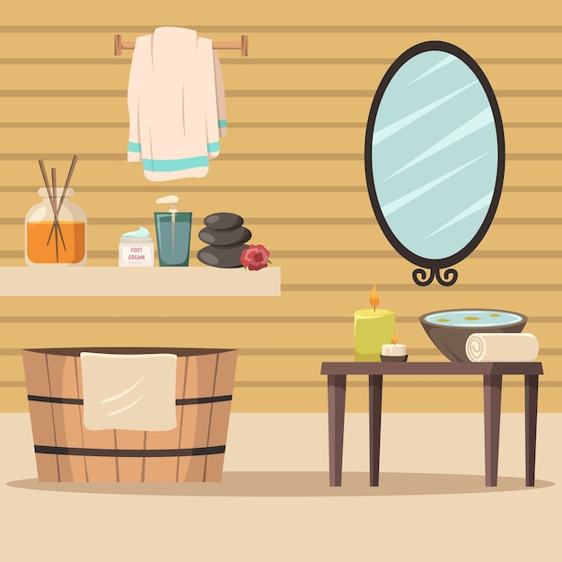 Spa salon with accessories for relaxation Free Vector