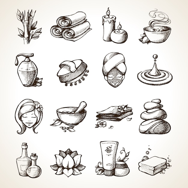 Spa sketch icons Free Vector