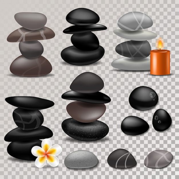 Spa stone vector zen stony therapy for beauty health and relaxation illustration of natural stoning treatment isolated Premium Vector