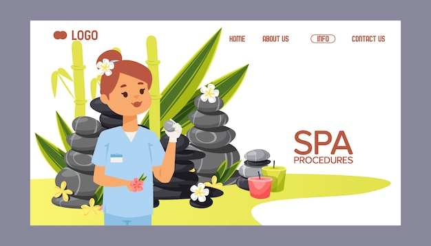 Spa stone web page zen stony therapy for beauty health and relaxation illustration Premium Vector