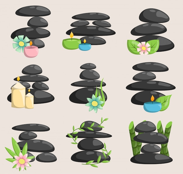 Spa stones isolated vector and relaxation isolated. stones stack isolated pebble concept therapy, heap spa stones beauty tranquil relax. Premium Vector