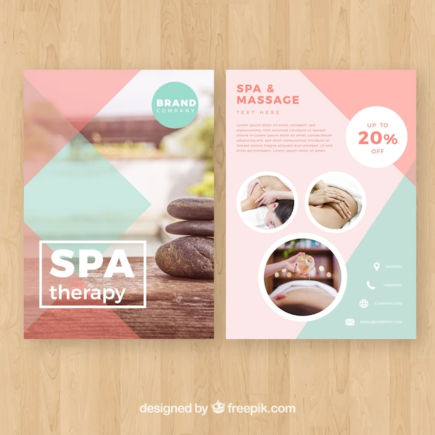 Spa studio poster with a photo Free Vector
