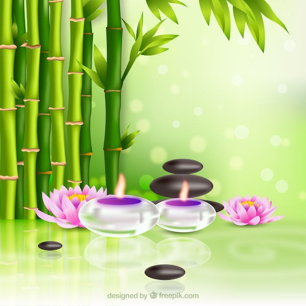 Spa therapy background with candles in realistic style Free Vector