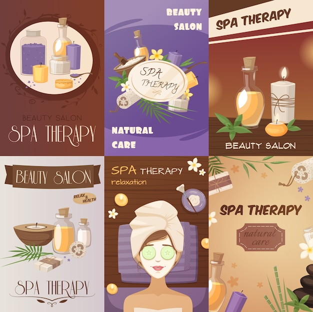 Spa therapy and beauty cartoon posters Free Vector