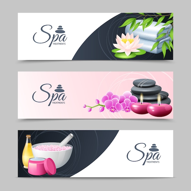 Spa treatment and well being horizontal banner set Free Vector