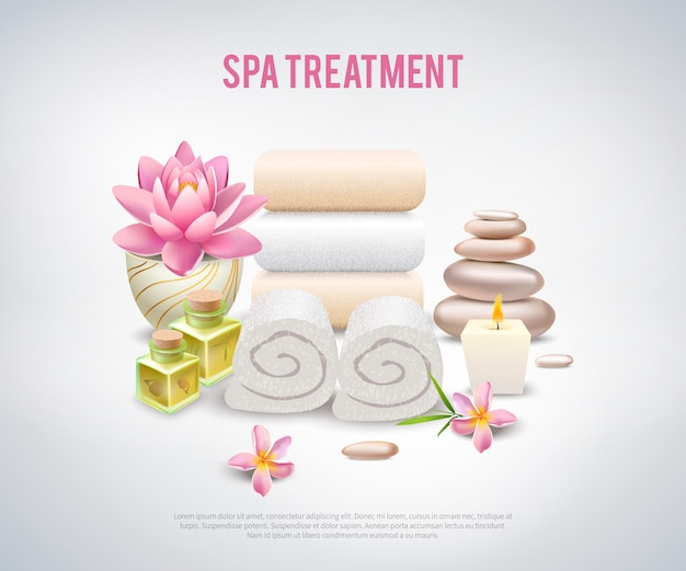 Spa treatment white poster Free Vector