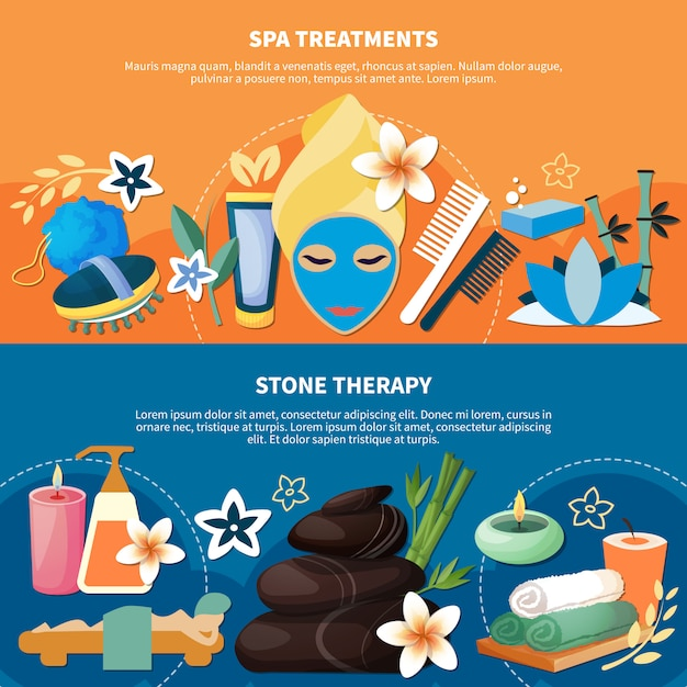 Spa treatments 2 flat banners Free Vector
