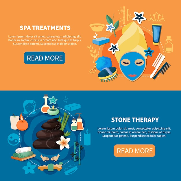 Spa treatments flat banners Free Vector