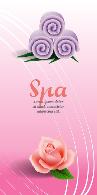 Spa vertical banner with rose and lilac rolled towel on pink background. Free Vector