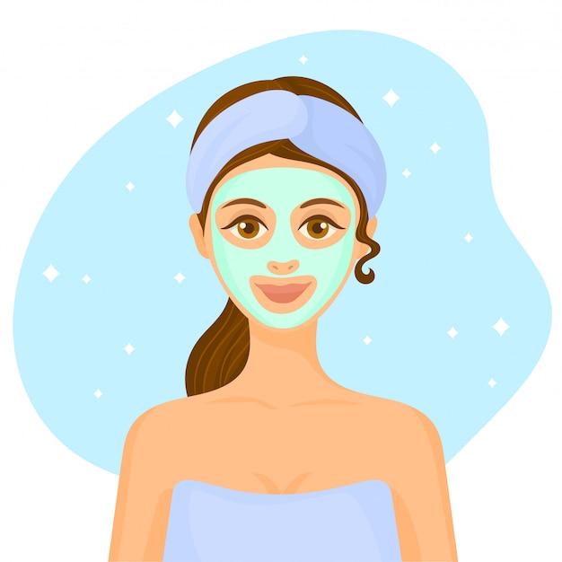 Spa woman applying facial clay mask Premium Vector
