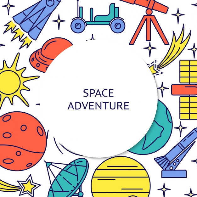 Space adventure colorful elements rounded frame background Premium Vector