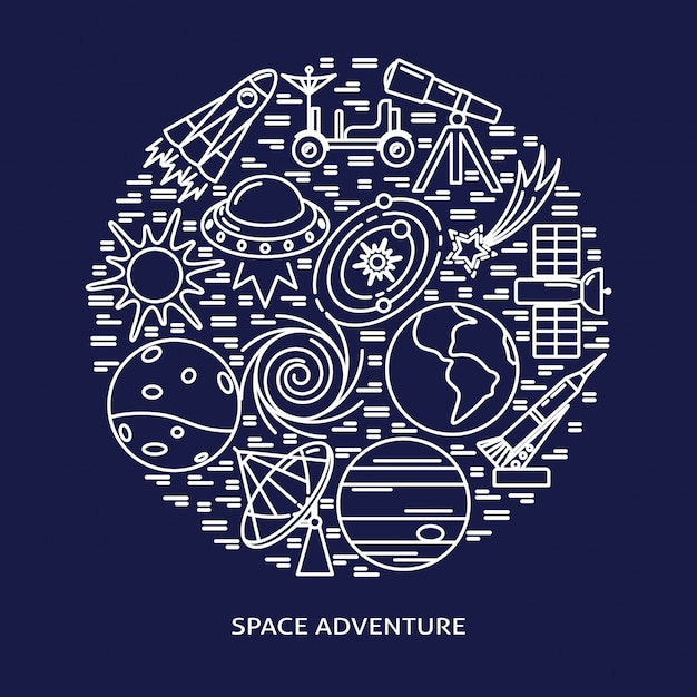 Space adventure elements round composition in line style Premium Vector