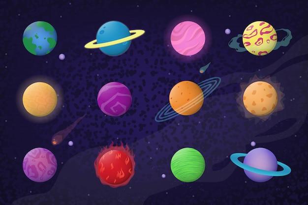宇宙と惑星セット 無料ベクター