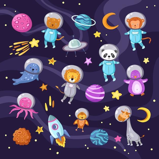 Space animals. cute baby animal panda cat lion giraffe monkey octopus penguin astronauts flying kid Premium Vector