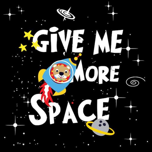 Space astronaut bear cartoon vector Premium Vector