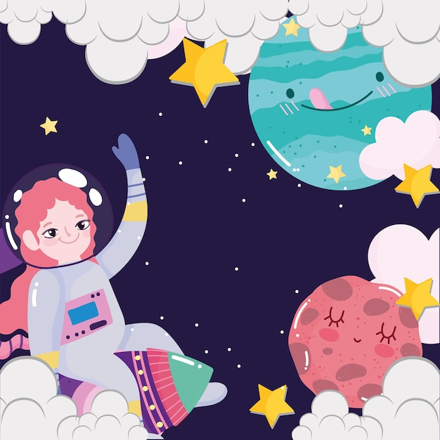 Space astronaut girl in rocket planets clouds stars galaxy cute cartoon Premium Vector