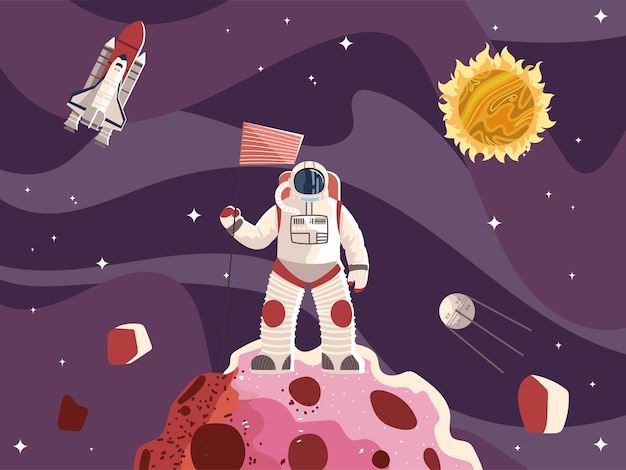 Space astronaut with flag surface planet spaceship sun and moon  illustration Premium Vector
