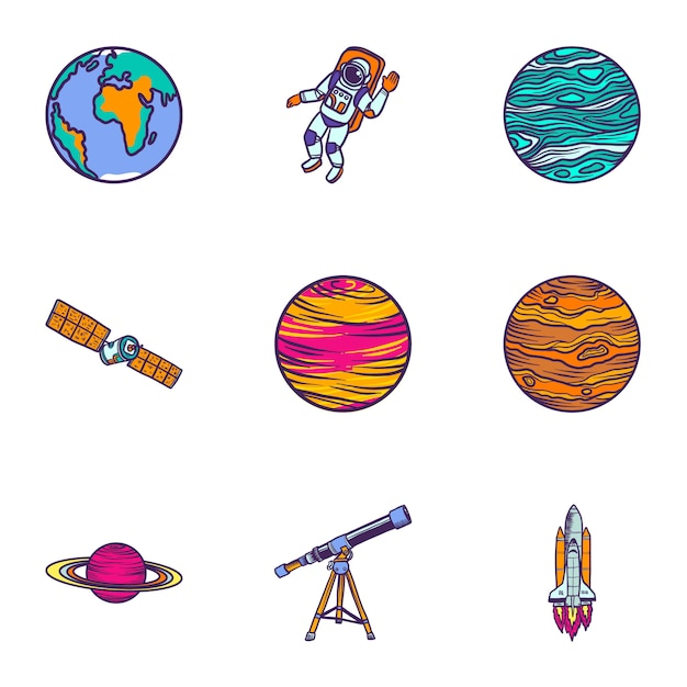 Space astronomy icon set. hand drawn set of 9 space astronomy icons Premium Vector