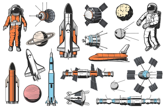 Space and astronomy icons  set. astronaut in spacesuit, space shuttle carrier and orbiter, artificial satellites and spaceships, orbital space station and solar system planet retro illustrations Premium Vector