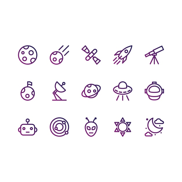 Space and astronomy icons Free Vector