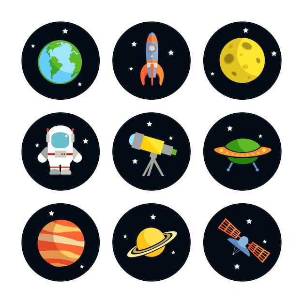 Space and astronomy round elements set of earth rocket moon astronaut isolated vector illustration Premium Vector
