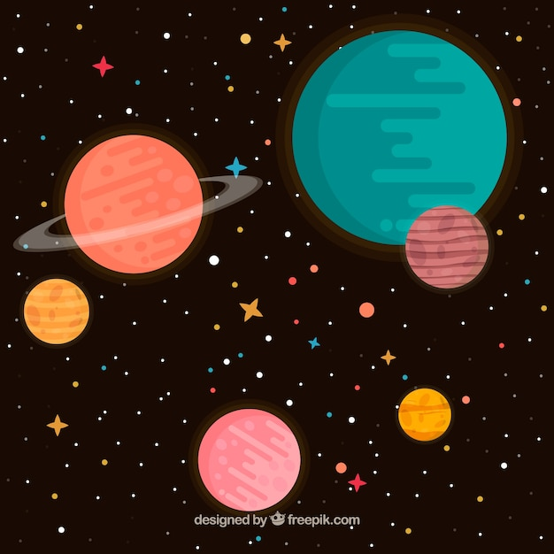 Space background and planets in flat design