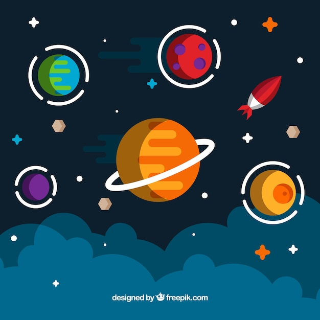 Space background in flat design